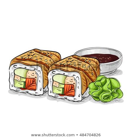 vector sushi color sketch canada roll stock photo © netkov1