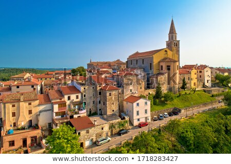 Old stone town of Buje on green hill view stock photo © xbrchx