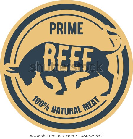 Prime beef stamp - label with bull, natural meat sticker Stock photo © Winner