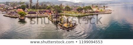 Photo from the drone. panorama. Aerial view of Pura Ulun Danu Bratan, Bali. Hindu temple surrounded  Stock photo © galitskaya