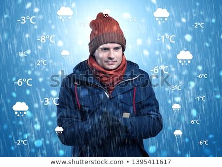 Junge warme Kleidung Wetter Zustand junger Mann Vorhersage Stock foto © ra2studio