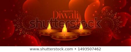 Feliz diwali bandeira três lâmpadas fundo Foto stock © SArts