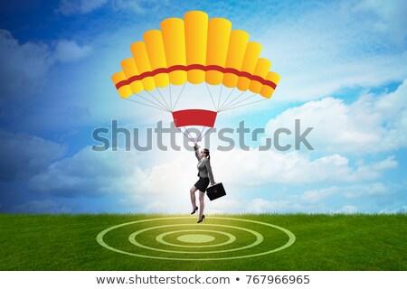 деловая женщина парашютом человека Финансы складе Сток-фото © Elnur