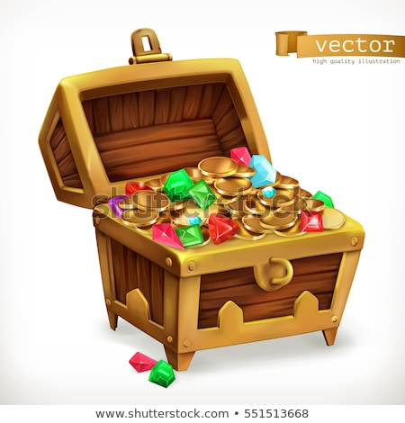 Treasure Chest Heap Golden Coins Vintage Vector stock photo © pikepicture