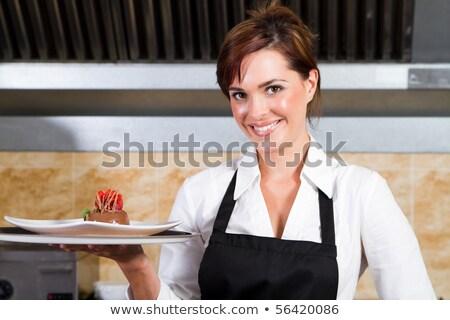 Kadın garson plakalar gıda mutfak Stok fotoğraf © wavebreak_media