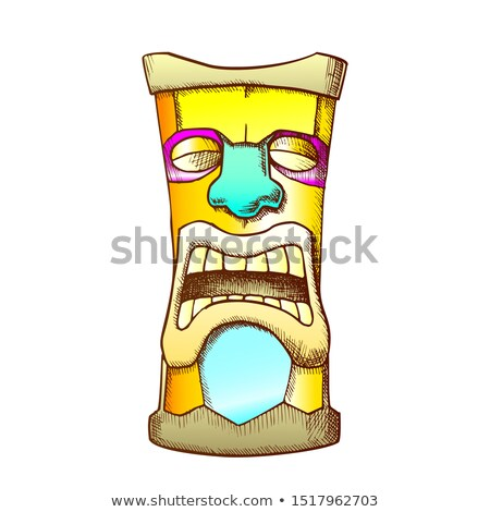 Tiki Idol Carved Wooden Crying Totem Color Vector Stock photo © pikepicture