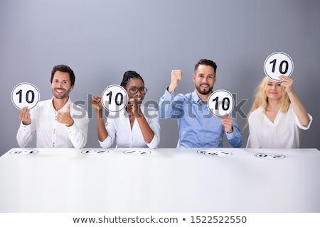 Panel halten 10 Punktzahl Zeichen glücklich Stock foto © AndreyPopov