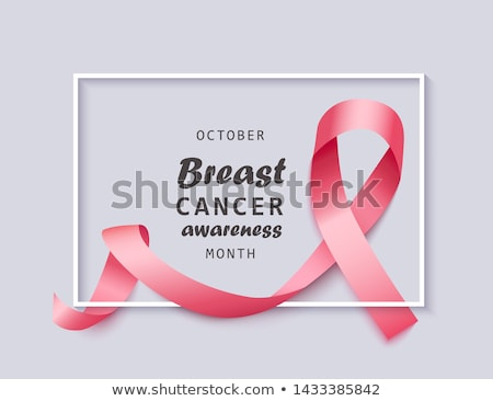 Breast cancer awareness 3d pink silk ribbon frame Stock photo © cienpies