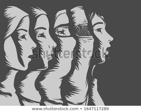 Girl Stencil Hijab Muslim Illustration Stock photo © lenm