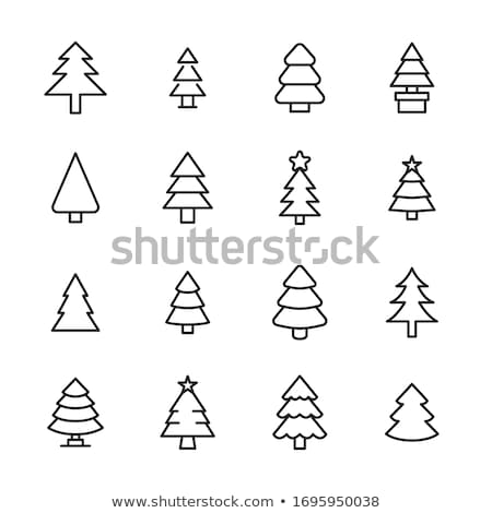 christmas tree silhouette with holiday linear icons stock photo © barsrsind