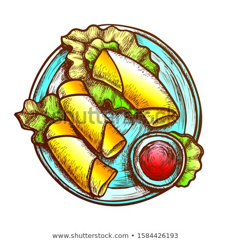 Lettuce Wraps With Hummus And Sauce Ink Vector Stock photo © pikepicture