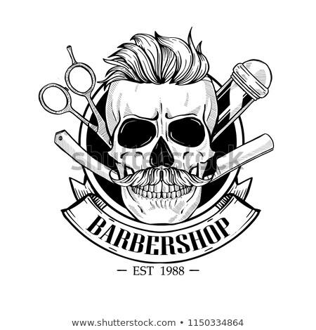 Barbershop logo angry sticker with skull Stock photo © netkov1