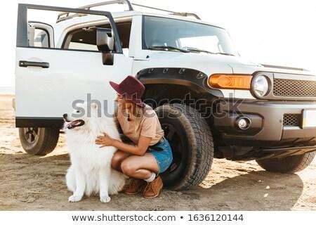 Woman with dog samoyed outdoors Stock photo © deandrobot