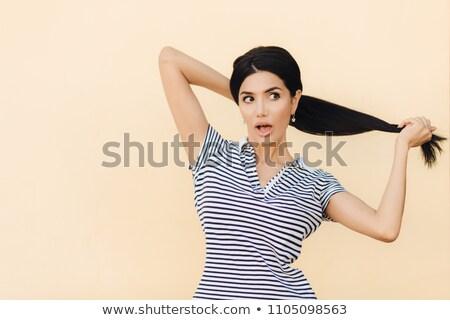 肖像 魅力的な ブルネット 女性 ポニー 尾 ストックフォト © vkstudio
