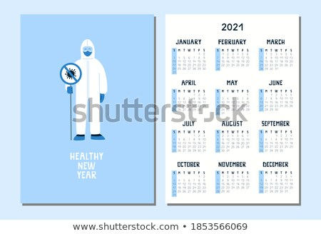 Covid 19 sign template with happy doctor Stock photo © bluering