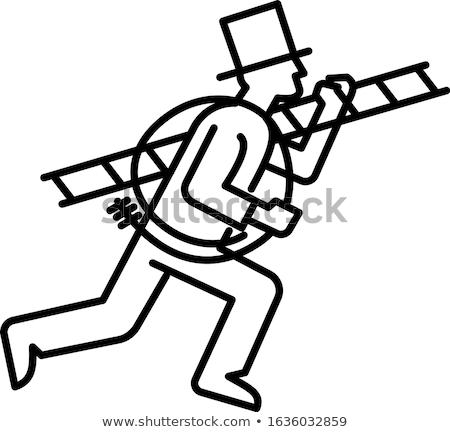 Schoorsteen lijn zwart wit illustratie persoon as Stockfoto © patrimonio