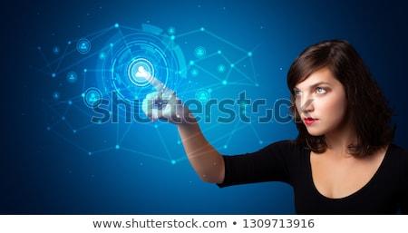 Man vrouw aanraken hologram veiligheid symbool Stockfoto © ra2studio