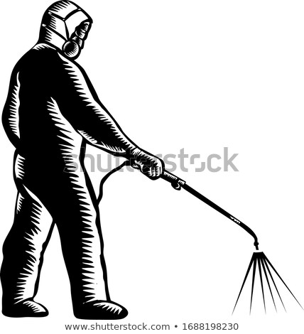 Essential Worker Wearing PPE Spraying Disinfectant Woodcut Stock photo © patrimonio