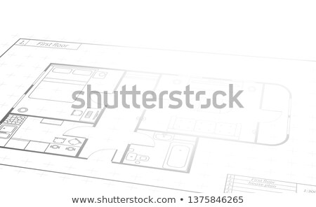 Engineering scroll with detailed white house plan, building blueprint in perspective Stock photo © evgeny89