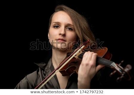 Komoly hegedűművész klasszikus előadás fiatal női Stock fotó © Giulio_Fornasar