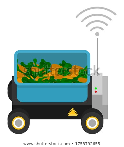 Machine with box and gps signal, container with harvest, carrots, automatic box at wheels for cargo Stock photo © robuart