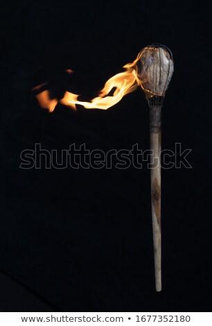 Antigo tocha isolado branco fogo metal Foto stock © cidepix