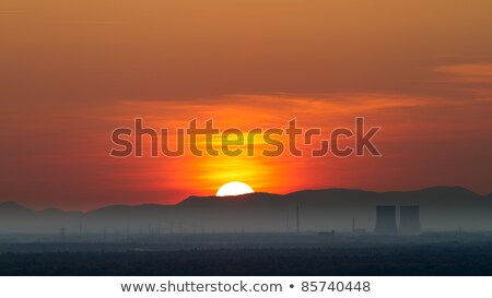 Panorama with Nuclear Power Plant in Philippsburg at sunset, Germany Stock photo © fisfra