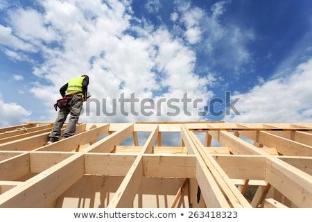azul · telhado · clarabóia · janela · chaminé · nuvem - foto stock © vlaru