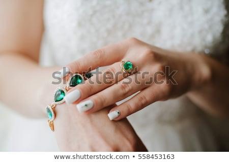 ストックフォト: エメラルド · ブレスレット · 女性 · 手 · 緑 · ベクトル