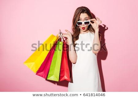 Czerwony torbę na zakupy odizolowany biały pasiasty moda Zdjęcia stock © jaykayl