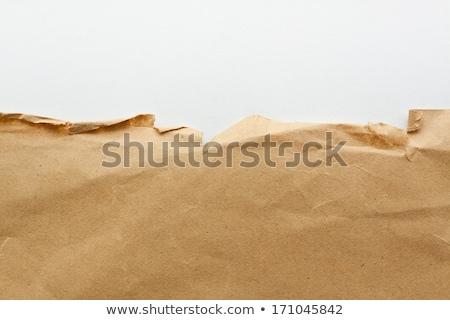 Szakadt csomagolópapír kartondoboz szürke karton réteg Stock fotó © lightkeeper