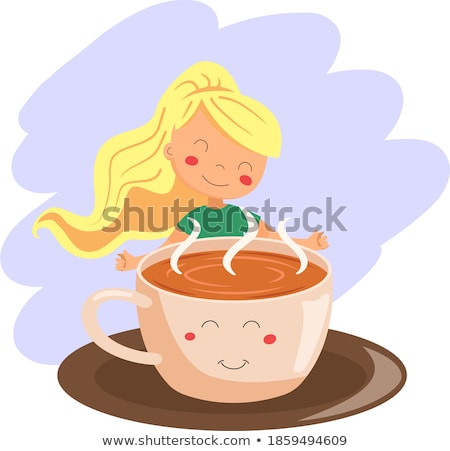 schoonheid · meisje · beker · koffie · advertentie · poster - stockfoto © HASLOO