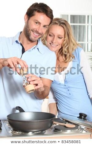 Casal cozinhar cozinha mulher homem Foto stock © photography33