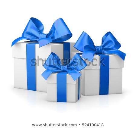 blu · scatola · regalo · argento · nastro · isolato · bianco - foto d'archivio © erierika