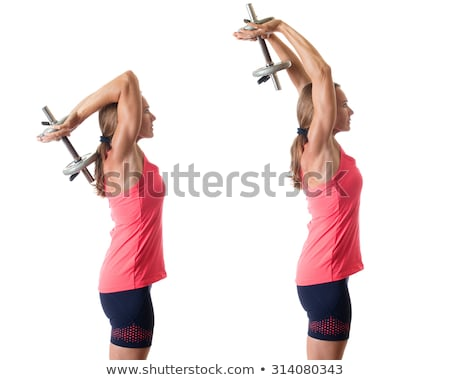 One arm tricep extension. Studio shot over white. stock photo © nickp37