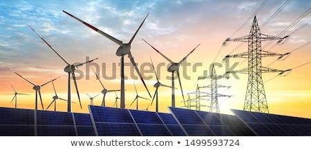 Stockfoto: Solar Park And Power Line