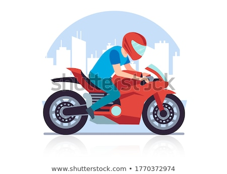 Foto stock: Cartoon · motocicleta · aislado · blanco · vector · eps8