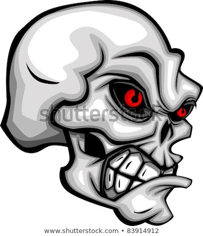 Сток-фото: Skull Cartoon With Red Eyes Vector Image