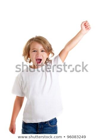 Photo stock: Enfants · Kid · hurlant · heureux · main · up