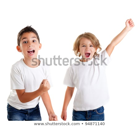 Gyerekek izgatott gyerek nyertes kézmozdulat sikít Stock fotó © lunamarina