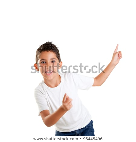 dancing happy children kid boy with fingers up stock photo © lunamarina