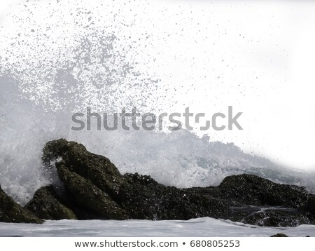 wave crashing on coastline cliffs Stock photo © morrbyte