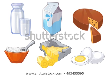 Stock fotó: Dairy Products Include Milk Cottage Cheese And Swiss Cheese