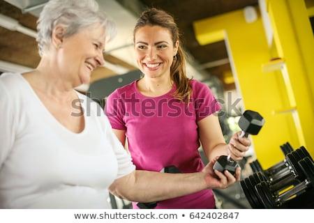 starszy · kobieta · hantle · człowiek - zdjęcia stock © photography33