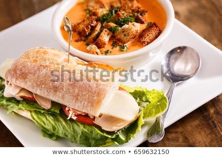 Sanduíche sopa blt tigela comida tomates Foto stock © stevemc