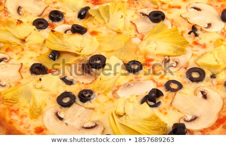 Pizza with olives and mushrooms backfround Stock photo © ozaiachin