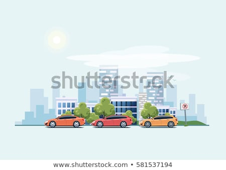 Green background and blue car sedan. Vector illustration Stock photo © leonido