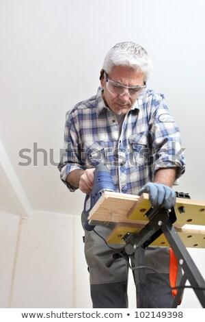 Ventilador perforación agujero madera edificio Foto stock © photography33