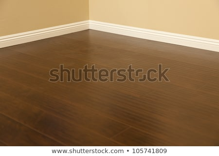 Newly Installed Brown Laminate Flooring and Baseboards in Home stock photo © feverpitch