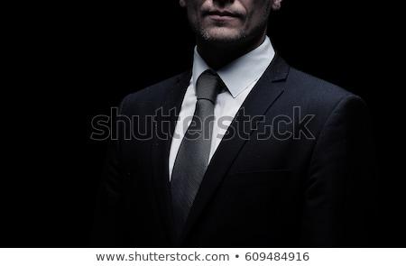 肖像 · 深刻 · 男 · 黒服 · 孤立した · 白 - ストックフォト © pzaxe